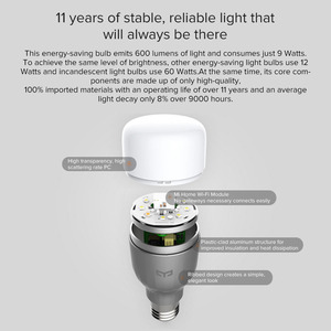 Image 3 - Original Yeelight LED Smart Bulb Light 220V E27 9W 600 Lumens Xiomi Smart Home APP Remote Control RGBW Bulb/Not Smart White Bulb