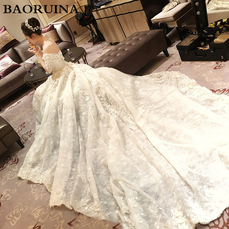 Vestido De Noiva 2017 New Elegant Lace Applique Tulle: New Arrival 2018 Wedding Dress Appliques Half Sleeve Lace