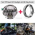 7inch 75W Round LED Headlight with DRL and Ring Bracket 7500LM Hi/Low Beam Head Light with Bulb DRL for Harley