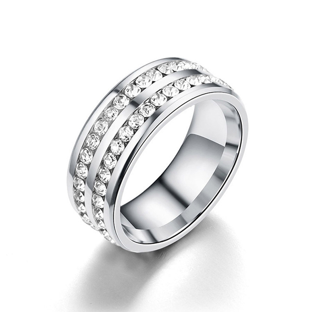 Women Fashion Slimming Healthcare Fat Burning Weight Loss Ring Anillo Mujer Bague Crystal Stainless Steel Rings Jewelry 4