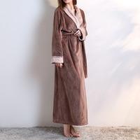 Fashion Women Men Flannel Bath Robe Sleepwear 2018 Autumn Winter Solid Plush Couple Bathrobe Thick Warm Female Robe Pink Black