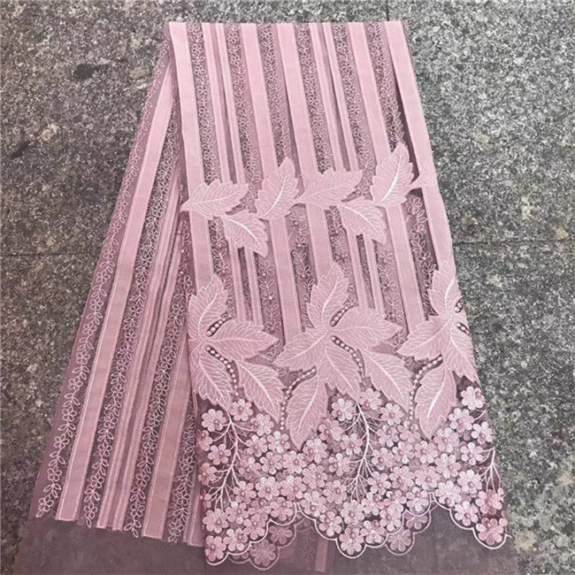 With Beads Embroidery Wedding Nigerian Lace PINK African
