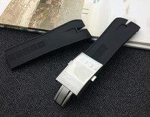 למעלה איכות 26.5 שחור טבע גומי סיליקון רצועת שעון שעונים בנד עבור רוג ר Dubuis רצועת עבור EasyDiver חגורת 46mm חיוג אבזם
