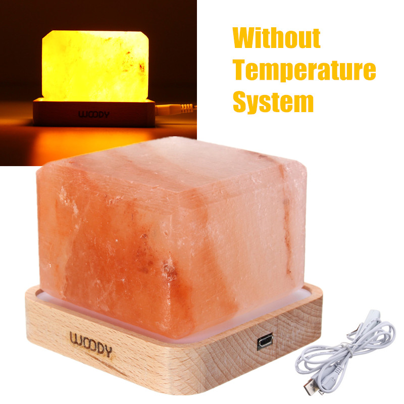 Crystal Himalayan Salt Lamp Air Purifier Night Light USB Power Desk Lamp Bedside Bar Coffee Shop Home Decor Warm White Lighting