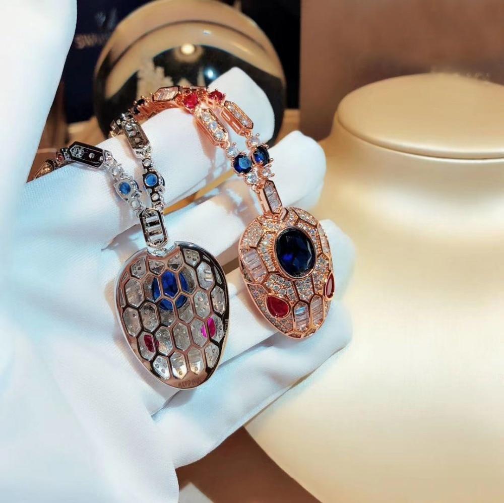 New bijoux femme collier monili Del Partito blu/rosso Zircone cristallo animale pendenti rosa/bianco oro colore custom collane per le donne-in Catenine da Gioielli e accessori su  Gruppo 2
