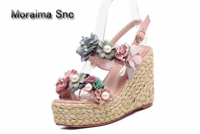 Moraima Snc brand sandalen dames Flowers high heels sandals girls platform wedges shoes women pearl Beach shoes summer party