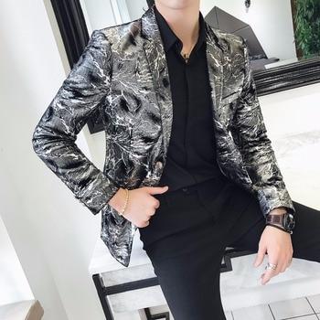 new product b10e8 f9569 Americana-Hombre-Blazer-Masculino-Slim-Fit-plata-impresa-Blazers-Mens-etapa-desgaste-Casual-elegante-Club-Outfits-omga.jpg 350x350.jpg
