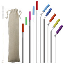 Drinking-Straw Cover Silicone Straight Reusable 304-Stainless-Steel Metal 1-Cleaning-Brush