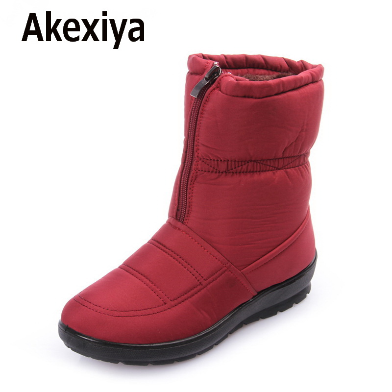 Akexiya Snow boots 2017 Winter brand warm non-slip waterproof women boots mother shoes casual cotton winter autumn boots female