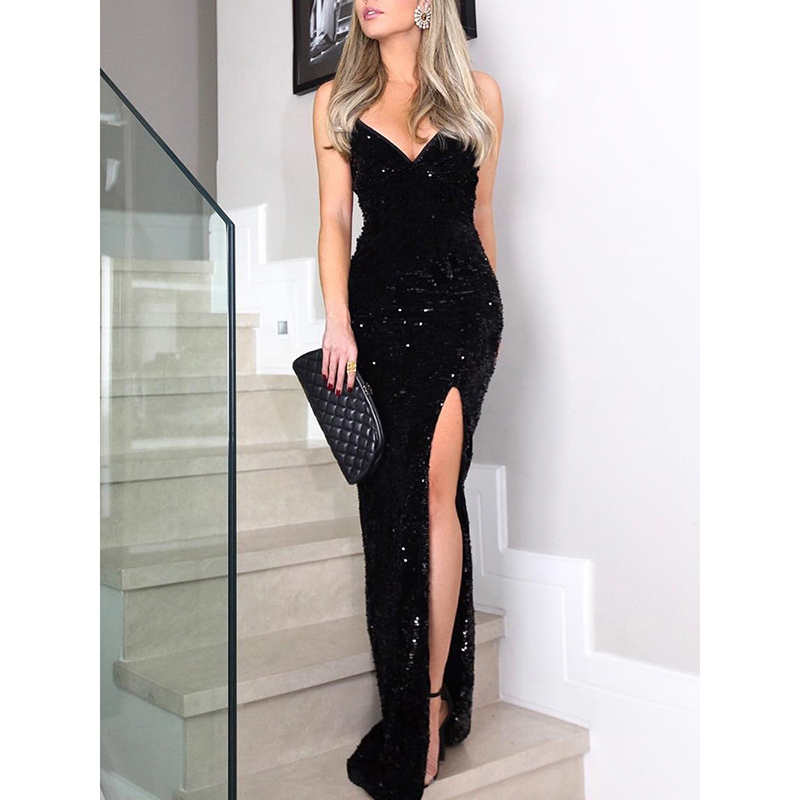 Sequin Dress Spaghetti-Strap Club Maxi Vestidos Black High-Slit V-Neck Long Women Sleeveless title=