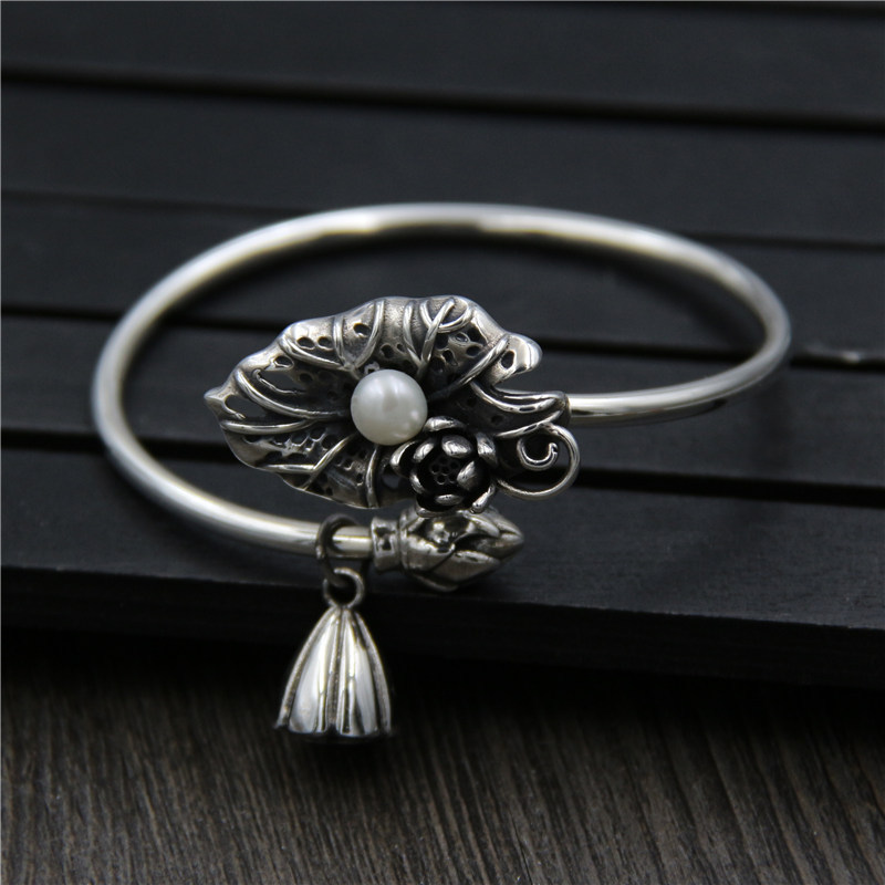 C&R Real 925 Sterling Silver bangles for women bracelet Lotus leaf inlaid with pearls Lotus opening bangles Fine Jewelry leaf opening bracelet