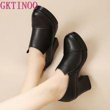 Женская обувь; сезон весна-осень; модные женские туфли из натуральной кожи на высоком толстом каблуке; первый слой из воловьей кожи; туфли-лодочки на платформе