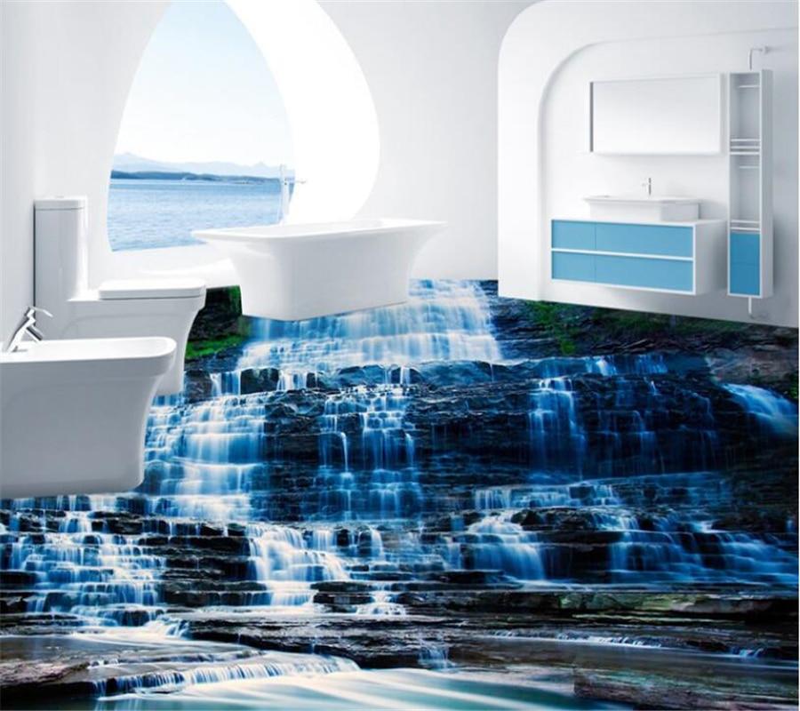 Natur Kleinen wasserfall stein 3D Boden Wandbild Tapete Küche ...