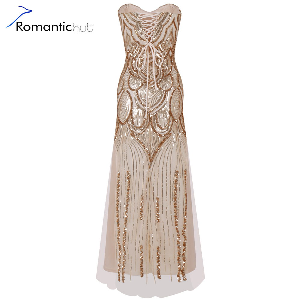 Buy Cheap Romantichut 2017 Sexy Women Vintage luxury 1920s Sequin Art Embellished Fringed Flapper Dress Colorful Beads Vestidos de fiesta