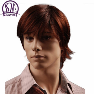 Image 3 - MSIWIGS 8 Inch Short Hair Synthetic Wigs for Men Natural Reddish Brown Straight Male Wig with Bangs Heat Resistant