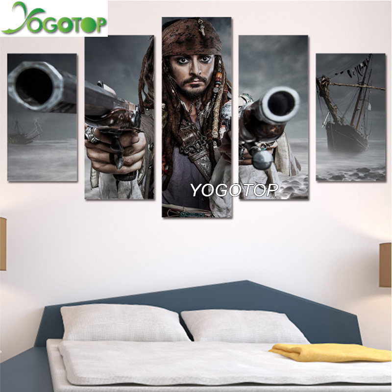 YOGOTOP DIY Diamond Painting Cross Stitch Kits Full Diamond Embroidery 5D Square Mosaic Pirates of the Caribbean 5pcs ML370