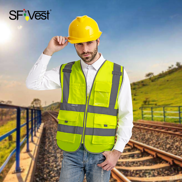 SFvest reflective waistcoat safety vests reflective multi pockets fluorescent yellow orange multi color options silk printing 1