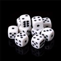 Dado para juegos de beber de 16mm, acrílico, blanco, redondo, dado hexaedro, para fiesta, juegos de mesa, juego de dados de juego de rol, 10 unids/lote