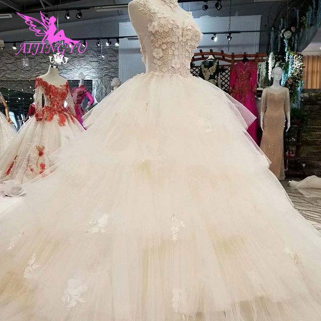Aijingyu simples vestido de casamento vestidos em marfim noivado líbano simples venda nupcial um vestido de luxo vestidos de casamento