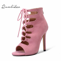 Rumbidzo 2018 Fashion Women Pumps Cross-tied Woman Shoes High Heels Peep  Toe Thin Heels Party Shoes Hollow Out Zapatos d7a771102cfc