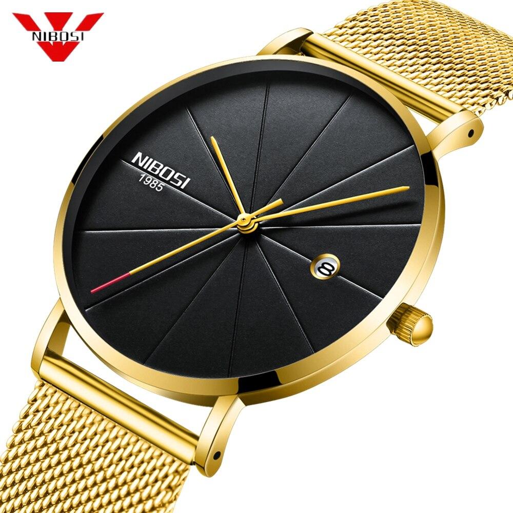 NIBOSI Ultra Thin Gold Black Watch Men Montre Mens Watches Top Brand Luxury Quartz Watches Relogio Masculino Business Wristwatch