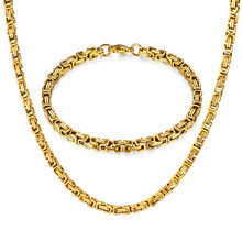 Hip Hop Byzantine Box Chain Set Gold Color Solid Stainless Steel Jewelry Sets For Men/Women 2017 Hot Sale RU Necklace & Bracelet(China)