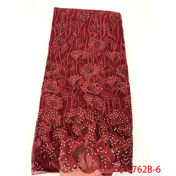 Fashion French Tulle Lace Red Nigerian Lace Fabric 2019 High Quality Lace Stone Style African Lace Fabric Woman Dress GD762B-2