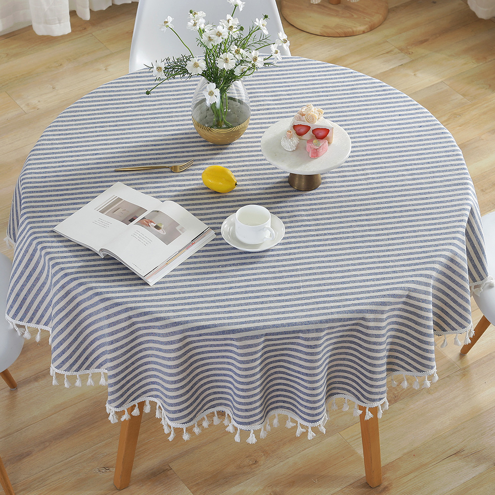 Striped Dust Proof Tassel Tablecloth Decorative Cotton Linen Cover For  Kitchen Table Runner Round Dining Living Room 9cm