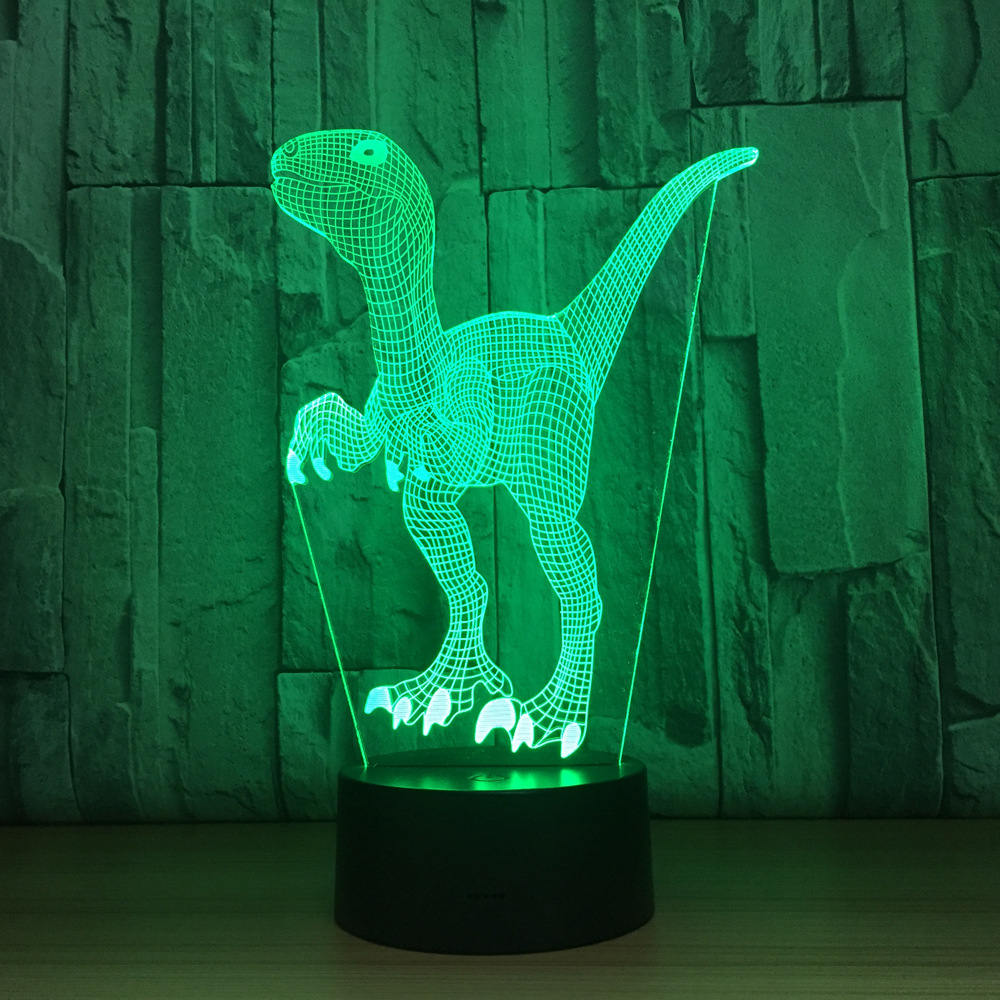 Touch Switch LED Desk Light Night Light Colorful USB Table Acrylic Lamp 3D Illusion Dinosaur Home Decor Kids Gift Free Drop Ship
