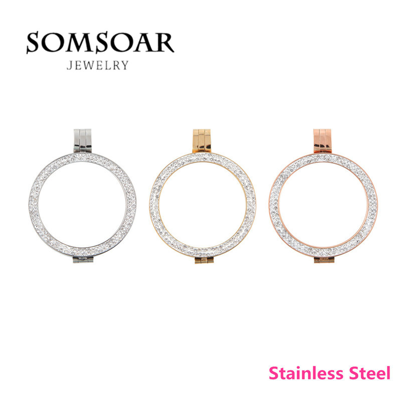 High Quality 316L Stainless Steel Double Crystal Elements Coin Holder Frame Locket Pendant fit 33mm My