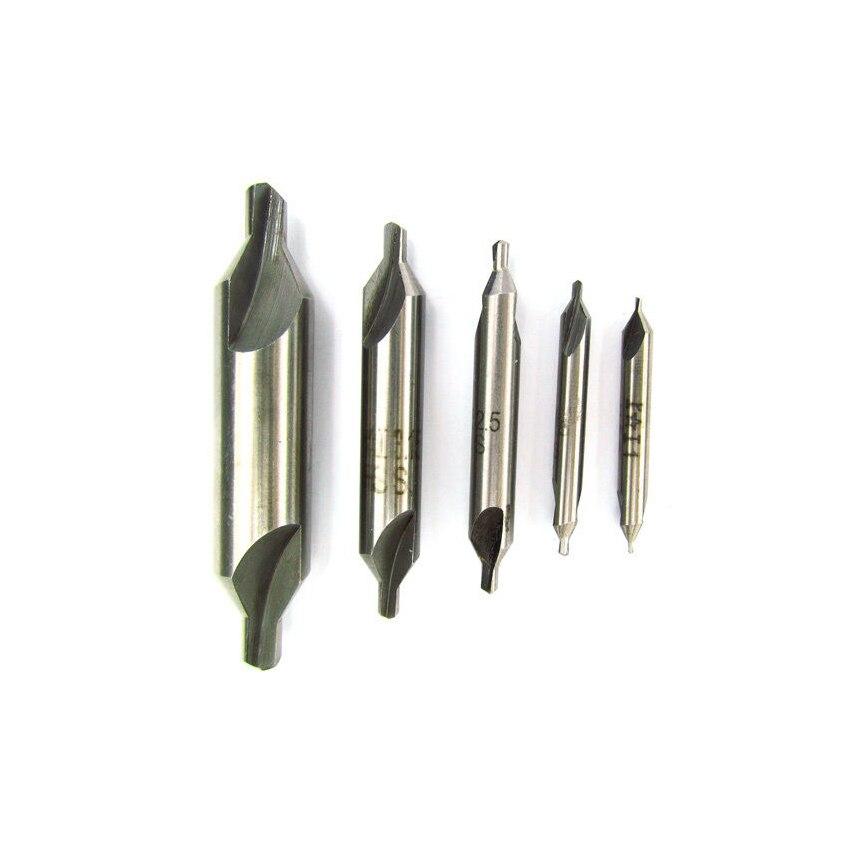5 vnt. SAE dydžio, HSS centro gręžimo gręžimo gręžimo gręžimo įrankio komplektas, 60 laipsnių