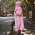 Длинный искусственный мех пальто с капюшоном женщин Осень-зима с капюшоном кролик меховые куртки и пальто розовый красный белый черный S-XXL женщин clothing