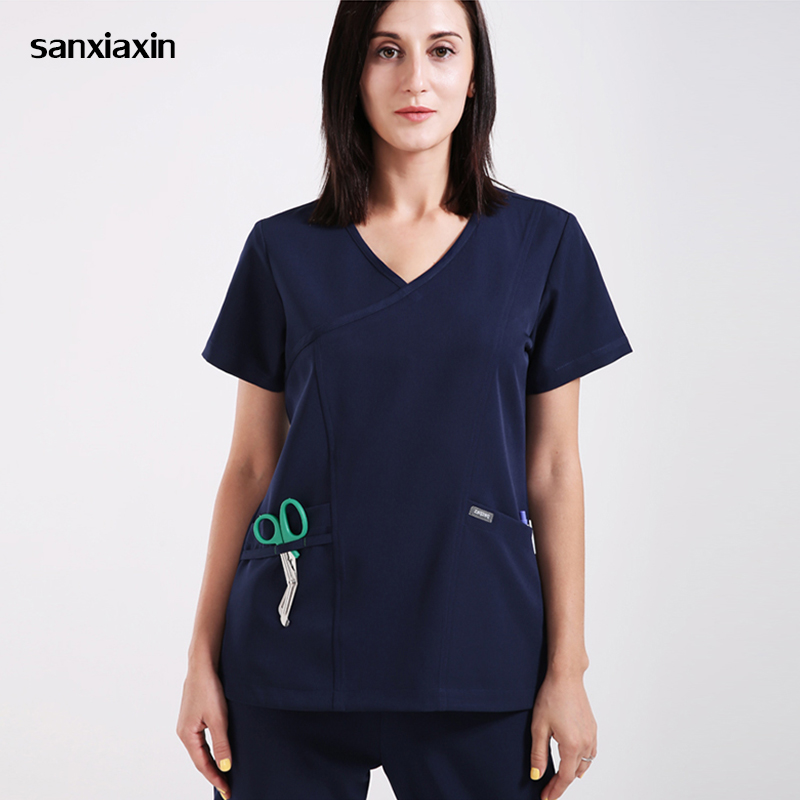 Sanxiaxin Multifunctional Pocket Design Meidcal Scrub Sets Hospital Surgical Clothing Doctors Nurse Isolation Uniforms Lab Gowns
