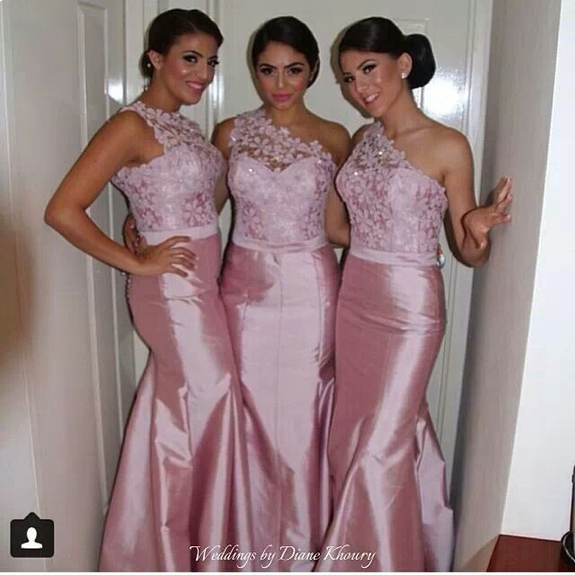 Modest one shoulder long mermaid pink bridesmaid dresses for Cambodian wedding dresses sale