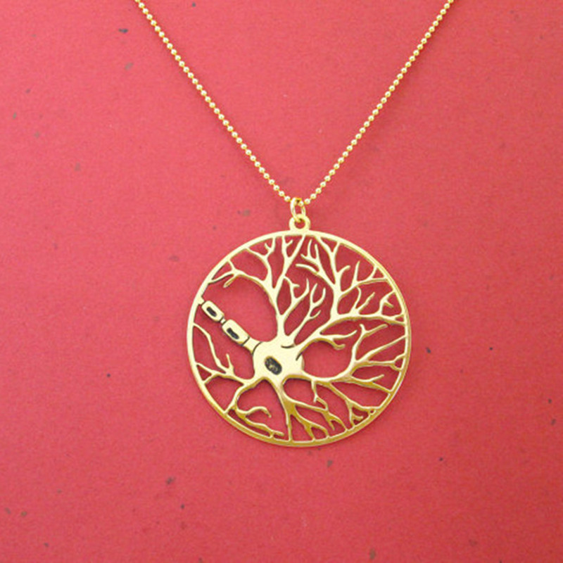 Neuron in a circle necklace psychology necklace biology jewelry 24