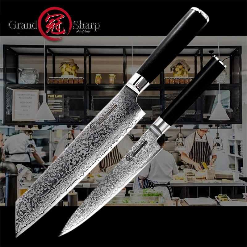 Grandsharp Damascus Kitchen Knives 2 Pcs Knife Set Japanese Damascus Steel Chef Utility Knife 67 Layers vg10 Steel Kitchen Knife