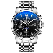 SOLLEN Механические часы 6 Руки 24 Часов Функция Мужчины Спортивные Часы Роскошные Часы Мужчин Лучший Бренд Военные Часы Relogio Masculino