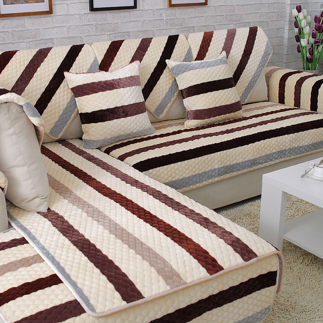 Modern Plush Slipcovers Stretch Sofa Covers Striped Couch Seat Covers  Flannel Quilted Sectional Sofa Cushion Nonslip