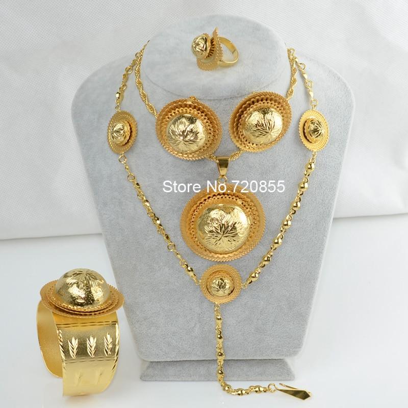 Ethiopian Jewelry set Eritrean 22k Gold Plated Pendant Necklace 60cm