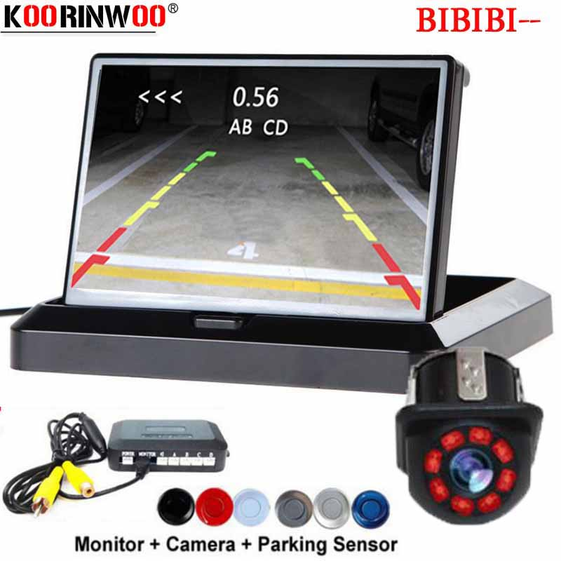 Koorinwoo Wireless Dash Electronics Parking Sensors 4 Probes Alert Folding 4.3 Monitor Car Rearview Camera Auto Radar Parktronic