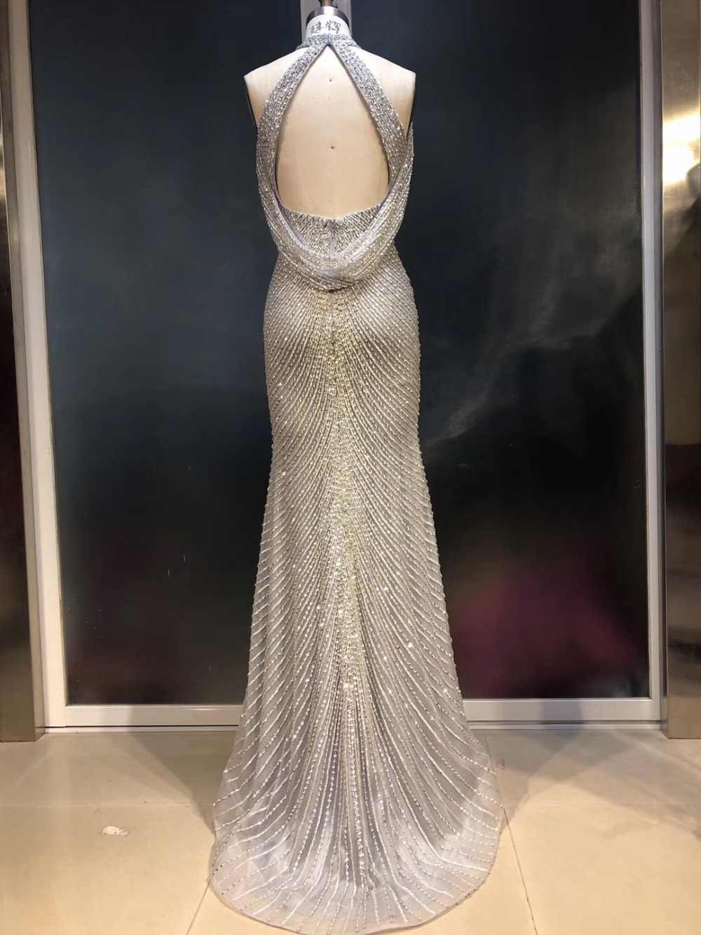 abb1a1ee035 ... Fabulous New Design Long Evening Dress 2019 High Neck Sleeveless  Beading Mermaid Prom Dresses Robe de ...