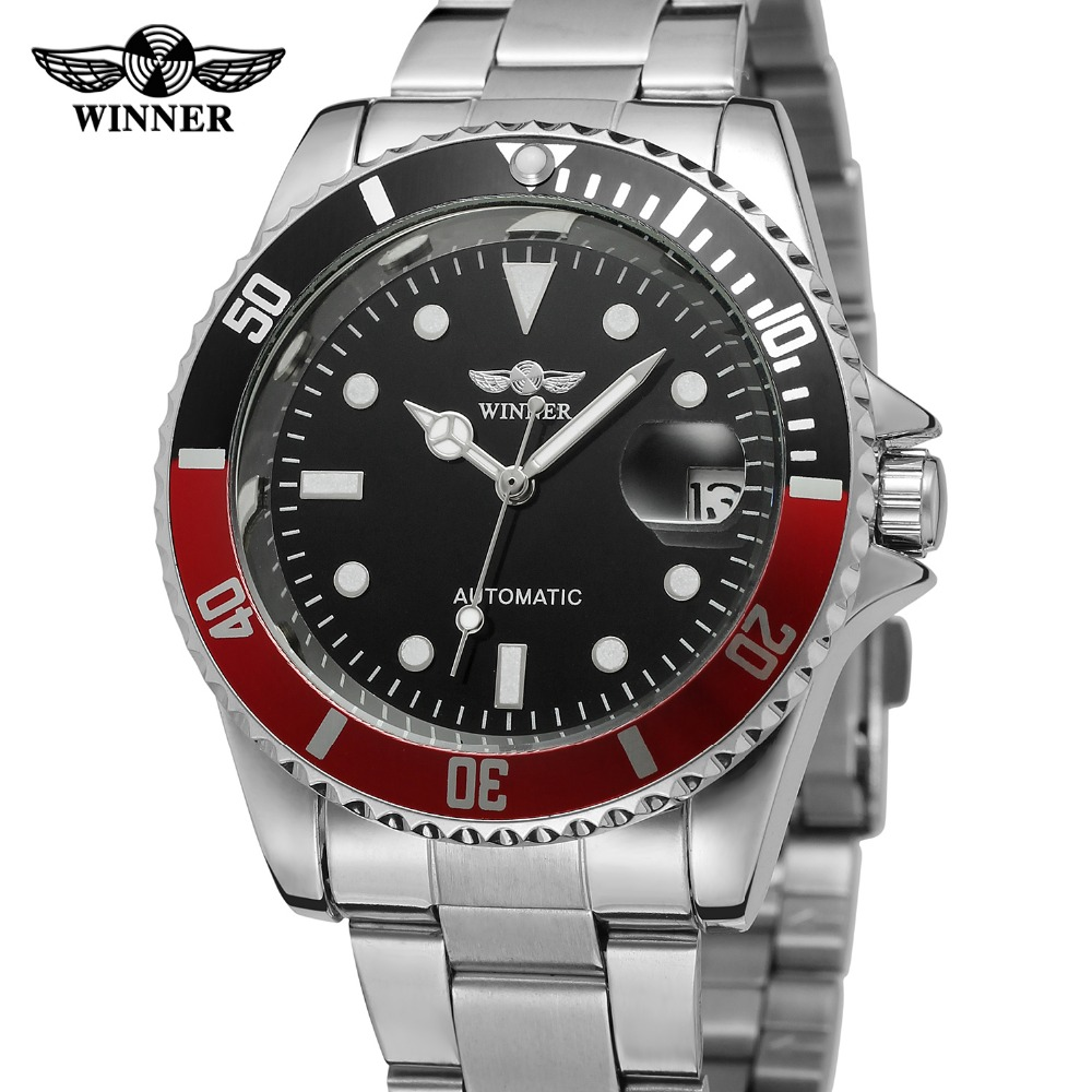 WINNER Brand Luxury Automatic Mechanical Watches Stainless Steel Date Display Men Wristwatch Gift Box Relogio Releges 2017 New fashion sewor men luxury brand auto date leather casual watch automatic mechanical wristwatch gift box relogio releges 2016 new