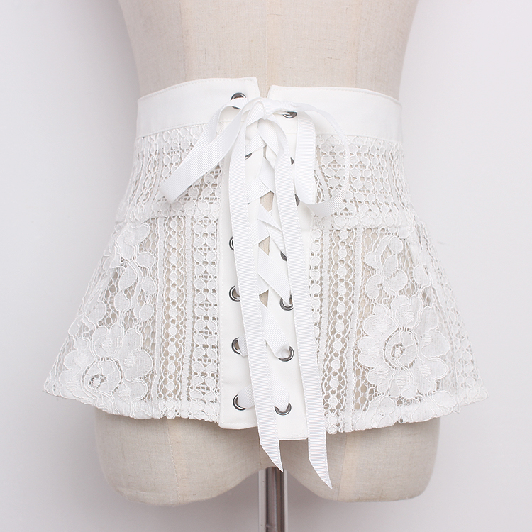 Women's Runway Fashion Vintage Lace Cummerbunds Female Dress Coat Corsets Waistband Belts Decoration Wide Belt R1165