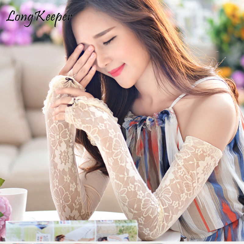 Long Keeper Lace/Solid Colored Womens Long Sleeves Fingerless Gloves 6ocm Arm Sunscreen Gloves Ice Silk Lace Ladies Elbow Luva