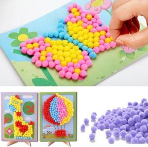 1 шт., детские, творческие, плюшевые, с шариками, наклейки для рисования, Обучающие, ручной работы, материал, Мультяшные пазлы, поделки, игрушки, GYH