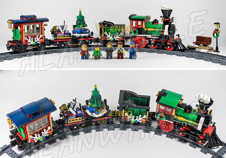 770pcs Creator Expert Winter Holiday Trains Classical 3D Model Building Blocks Assemble Brick Children Toys Compatible With Lego