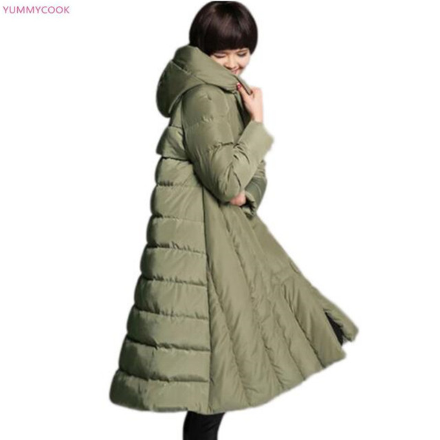 6bd79248c US $102.5 49% OFF|Super size 6XL 7XL women's down jacket warm Thicken  padded winter Parker long hooded jacket coat loose casual cotton jacket 234  -in ...