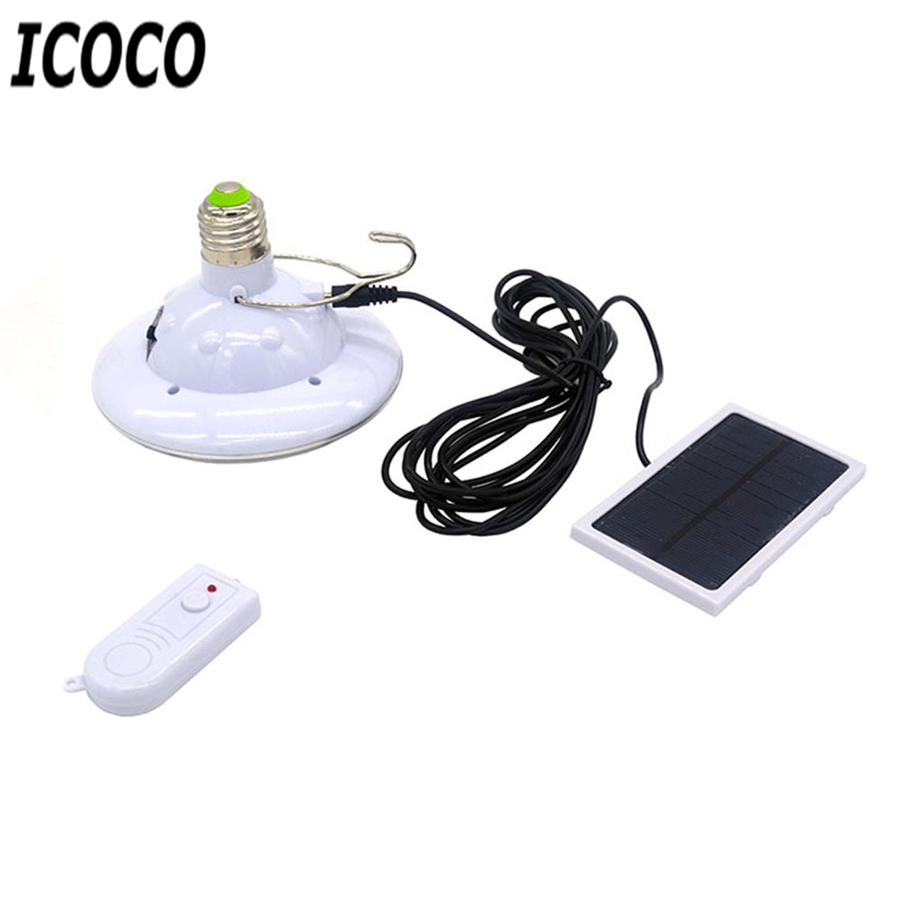 ICOCO Solar Powered 22 LEDs Bulb Lights Rechargeable Hanging Lamp with Remote Controller Outdoor Emergency Light Bulb Hot Sale