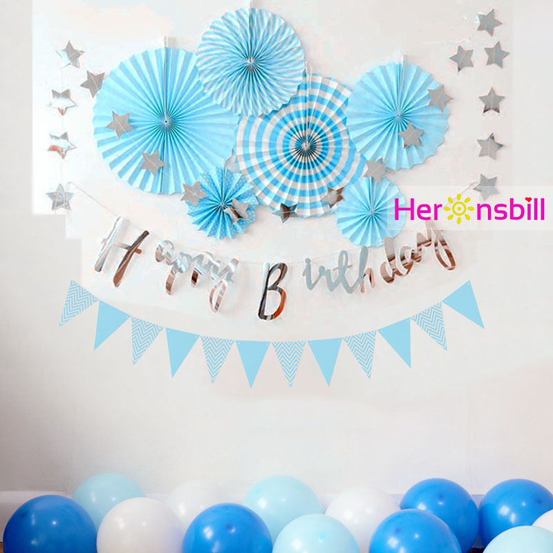 Paper Cut Out Blue Balloons First Birthday Decoration: Heronsbill Blue Pink First Birthday Boy Girl 1st Party