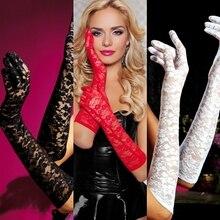 10 adet/grup 53cm Dantel siyah beyaz bej pembe kırmızı kadınlar bayan dans performans eldiven moda akşam parti eldiven ücretsiz kargo
